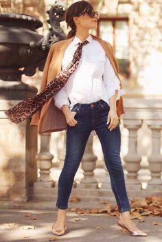 fall / winter - summer outfits - fall outfits - casual outfits - fall outfits - street style - street chic style - business casual - office wear - camel blazer + white shirt + leopard print skinny scarf + skinny jeans + metallic flats + brown sunglasses