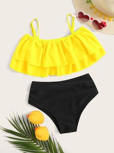 Toddler Girls Tiered Layer Top With Ruched Bikini , Swimsuits For Tweens, Bathing Suits For Teens, Summer Bathing Suits, Cute Bathing Suits, Cute Swimsuits, Kids Swimwear, Cute Casual Outfits, Summer Outfits, Mode Du Bikini