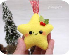 Star felt Christmas ornaments set handmade by MakeCreateNYC