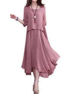 O-NEWE Elegant Solid 3/4 Sleeve Ruffled Irregular Dress For Women