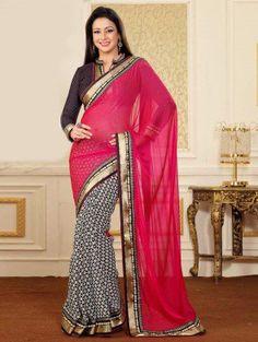 Dark Pink And White Bhagalpuri Silk Saree With Zari And Kundan Stone Work