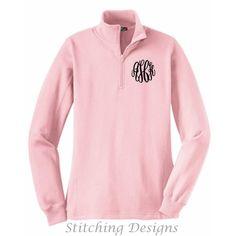 1/4 Zip Monogrammed Sweatshirt Monogram Pullover Ladies Fit Pink Xs to... ($36) ❤ liked on Polyvore featuring tops, hoodies, sweatshirts, pink, women's clothing, zipper top, pink top, zip pullover, monogrammed sweatshirts and monogrammed pullover