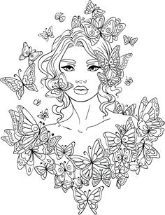Line Artsy - Free adult coloring page - Butterflies Around (uncolored)