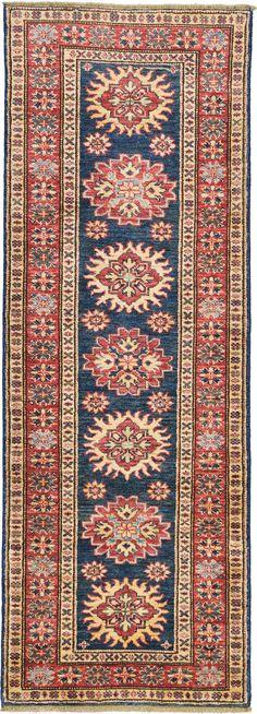 Blue 2' 0 x 5' 8 Geometric Kazak Rug | Oriental Rugs | eSaleRugs