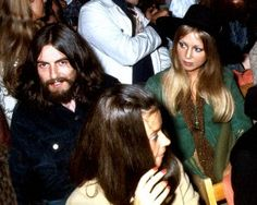 31st August 1969. George and Pattie watching Bob Dylan perform at the Isle of Wight Festival.