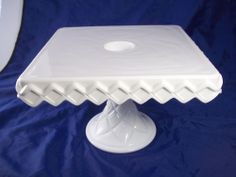 Indiana Glass Pedestal Cake Plate / Stand with Rum Hole Milk Glass & Vintage Fenton Milk Glass Hobnail 12.5