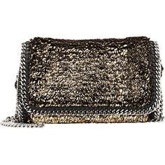 Stella McCartney Faux-Shearling Mini-Crossbody (€1.005) ❤ liked on Polyvore featuring bags, handbags, shoulder bags, colorless, crossbody, crossbody purse, crossbody handbags, brown leather purse and cross body purse