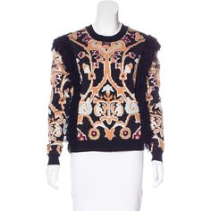 Pre-owned Ronny Kobo Tilda Intarsia Sweater ($125) ❤ liked on Polyvore featuring tops, sweaters, black, fringe top, multi color sweater, print top, multicolor sweater and long sleeve tops