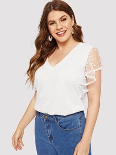 711009d32a44f Plus Solid Dot Mesh Butterfly Sleeve Top Plus Size Fall Fashion, Plus Size  Winter Outfits