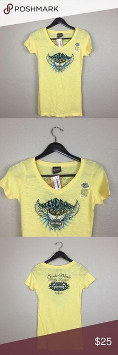 Harley Davidson yellow shirt size Small Harley Davidson size Small Women's vneck Harley-Davidson Tops Tees - Short Sleeve