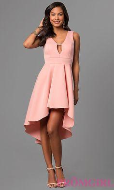 Box-Pleated High-Low V-Neck Party Dress - PromGirl Festliche Kleider, 283f517ab4