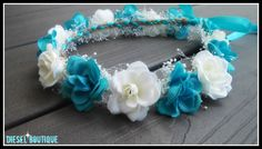 white teal rose crown headband turquoise blue by dieselboutique