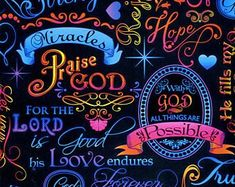 Brite Spiritual Words on Black Religious Fabric by Timeless Treasures Fabric Design, Pattern Design, Kaleidoscope Quilt, Spiritual Words, Word Of Faith, Quilt Patterns, Craft Projects, Finding Yourself, Cotton Fabric