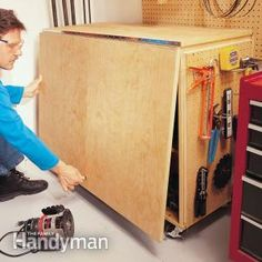 Build this solid, roll-around, folding workbench in a day with simple hardware and only two sheets of plywood. This article shows you how.