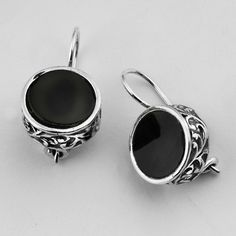 Shablool Didae Israel Unique Silver Earrings With Cabochon Onyx Black Stone