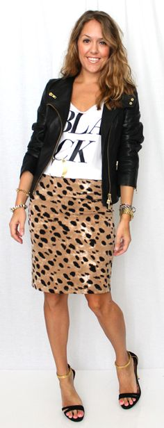 leather moto jacket, graphic tee, and leopard pencil skirt. love!