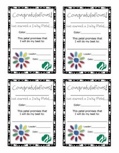 Passing Notes: Daisy papers ___ Award certificate for earning a Daisy petal