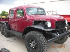 Dodge Power Wagon, 6 wheel, 6X6, red, 4 door, running boards,