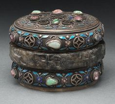 """Chinese enamel over silver and jade tea caddy, with jade bracelets, and studded with tourmaline beads. Marked """"Silver"""" on base. 2.25""""H x 3"""" Dia., Circa - Late 19th - Early 20th C."""