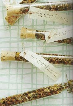 Shower favors - loose leaf tea in test tubes!