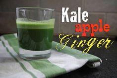 Kale Apple Ginger Juice (makes about cup juice) 5 kale leaves 1 Fuji apple 2 inch knob ginger Ginger Smoothie, Juice Smoothie, Smoothie Drinks, Smoothie Recipes, Healthy Detox, Healthy Juices, Healthy Drinks, Raw Juice, Ginger Juice