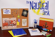 Get ready to hit the #SevenSeas with this super fun #Nautical #Desk #makeover. With simple materials and a little imagination, you'll set sail in no time. #Office #OfficeSupplies #OfficeMakeover