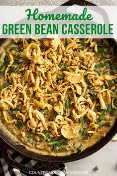 This Homemade Green Bean Casserole is creamy, full of flavor, and topped with delicious crispy onions! This classic Thanksgiving and Christmas recipe is easy to make from scratch, with the option to use canned or homemade cream of mushroom soup. #greenbeancasserole #sidedish Healthy Sides, Healthy Side Dishes, Side Dishes Easy, Vegetable Side Dishes, Side Dish Recipes, Pork Recipes, Vegetable Recipes, Traditional Thanksgiving Recipes