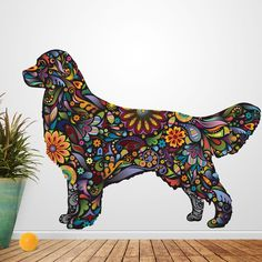 - Golden Retriever Dog decal in a multicolored floral pattern - Available in 4 sizes: Small 14.8w x 11.2h, Medium 19.7w x 14.8h, Large 43.6w x 32.9h , X-Large 51.9w x 39.2h (sizes in inches / Large is