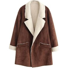 Oversized Folded-cuffs Fleeced Md-long Suede Coat ($50) ❤ liked on Polyvore featuring outerwear, coats, jackets, coats & jackets, long coat, oversized coat, suede coat, suede leather coat and fleece coat