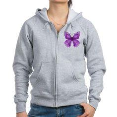 Awareness Butterfly Zip Hoodie on CafePress.com