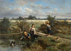 Johan 'Mari' Henri ten Kate - 1831 - 1910 drie-kinderen-en-een-hondje-met-een-mutsje-dat-in-het-water-dreef