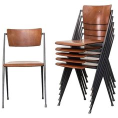 Set of Six Wm. Rietveld ''Pyramid'' Chairs in Enameled Steel and Teak Ply for Ahrend de Cirkel ca.1966 Netherlands