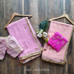 Beautiful Gota work Sarees by Label Kanupriya  WhatsApp 9694496961 www.labelkanupriya.com Sari Dress, Saree Blouse, Gota Patti Saree, Embroidery Suits Punjabi, Designer Sarees Online, Work Sarees, Indian Attire, Punjabi Suits, Blouse Designs