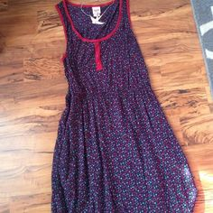 Mossimo Navy Blue Flower Dress Very pretty, red piping Mossimo Supply Co Dresses