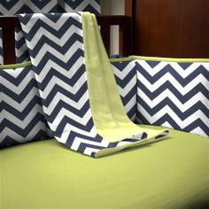 Navy and Citron Zig Zag Crib Blanket | Carousel Designs