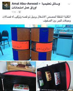 فكرة جميله من المعلمة امل ابو عواد وهي مكتبة متنقله بعجلات لتفعيل حصص الاحتياط وهي مصنوعه من برميل #إعادة_تدوير