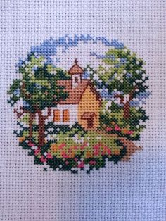 """Finished Cross Stitch """"Chapel in the Trees"""" Cross Stitch House, Cross Stitch Pillow, Cross Stitch Bird, Simple Cross Stitch, Cross Stitching, Cross Stitch Embroidery, Embroidery Patterns, Hand Embroidery, Funny Cross Stitch Patterns"""