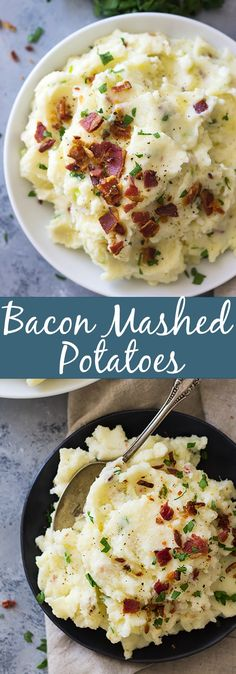 Bacon Mashed Potatoes are creamy, fluffy and full of flavor! Studded with crispy bacon, green onions and made ultra decadent with a little cream cheese. | www.countrysidecravings.com