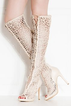 Nude Faux Leather Lace Up Open Toe Thigh High Boots @ Cicihot Heel Shoes online store sales:Stiletto Heel Shoes,High Heel Pumps,Womens High Heel Shoes,Prom Shoes,Summer Shoes,Spring Shoes,Spool Heel,Womens Dress Shoes