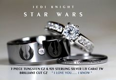 I like the thin one-STAR WARS Tungsten and 925 Sterling Silver Carat CZ Wedding Ring Set, Star Wars Galactic Imperial Empire, Rebel Alliance, Jedi Bijoux Star Wars, Star Wars Jewelry, Star Wars Ring, Wedding Star Wars, Star Wars Schmuck, Regalos Star Wars, Amour Star Wars, Wedding Fotos, Wedding Ideas