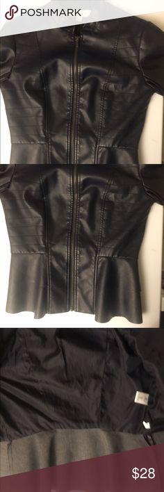 Navy blue peplum jacket Navy blue hipster faux leather peplum jacket New York & Company Jackets & Coats