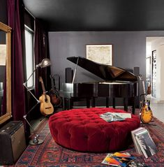 Trendy home studio music room spaces Music Room Art, Home Music Rooms, Music Bedroom, Music Studio Room, House Music, Men Bedroom, Piano Room, House Beds, Trendy Home