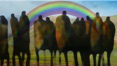 """Die 16. Lesung steht im Netz. Siehe unter: www.paradies.schwanfelder.org  Der Untergrund dieses Bildes ist eine Landschaft in Tibet. Sie ist leer und karg. Sie passt gut für einen """"new deal"""". Im Vordergrund Menschen, Hirten, vielleicht auch Soldaten und Manager, alle friedlich vereinigt. Über der Landschaft liegt ein Regenbogen. Er ist nicht sichtbar. Deshalb habe ich einen gemalten Regenbogen dazwischen gelegt. So könnte ich mir den """"neuen Bund"""" durchaus vorstellen. Manager, Northern Lights, Nature, Travel, Paradise, Mesh, Soldiers, Rain Bow, Legends"""