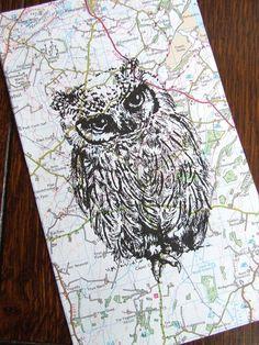 Owl Gocco Print Traveller Owl Map Bird on Vintage Map by inkmeup