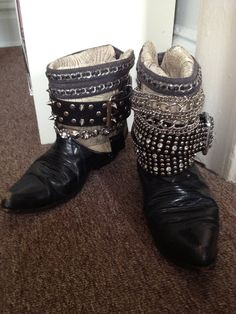 Up cycled vintage cowboy biker boots with studs by rachaelrobbins