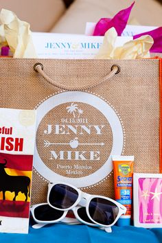 Welcome Bag Idea. Good for destination weddings or a good gift to send newlyweds on honeymoon.