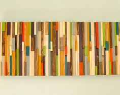 Modern Abstract Wood Sculpture Wall Art, painted, skinny wood pieces 12 x 38, customized Featured on ApartmentTeraphy.com