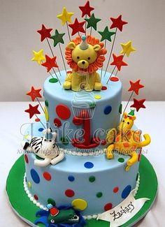 Birthday Animal Cake by Pink Cake Box in Denville, NJ. More photos at… Animal Birthday Cakes, Unique Birthday Cakes, Baby Birthday Cakes, Baby Cakes, Cupcake Cakes, Circus Birthday, Birthday Ideas, Happy Birthday, 1st Birthday Cakes For Boys