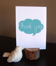 Thank you note card  Cloud speech bubble thank by LittleWhiteMouse, $3.00 #thankyou #card