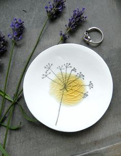 Porcelain White Ring Dish Recycled Glass OOAK Flower Ceramic